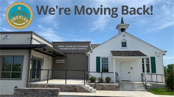 We're Moving Back! Photo of renovated Township Building and Schoolhouse