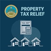 Upper Uwchlan Township Property Tax Relief. Image of calculator and row of houses.