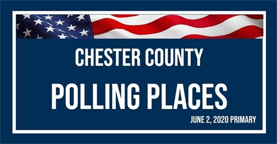 Chester County Polling Places Logo with American flag.