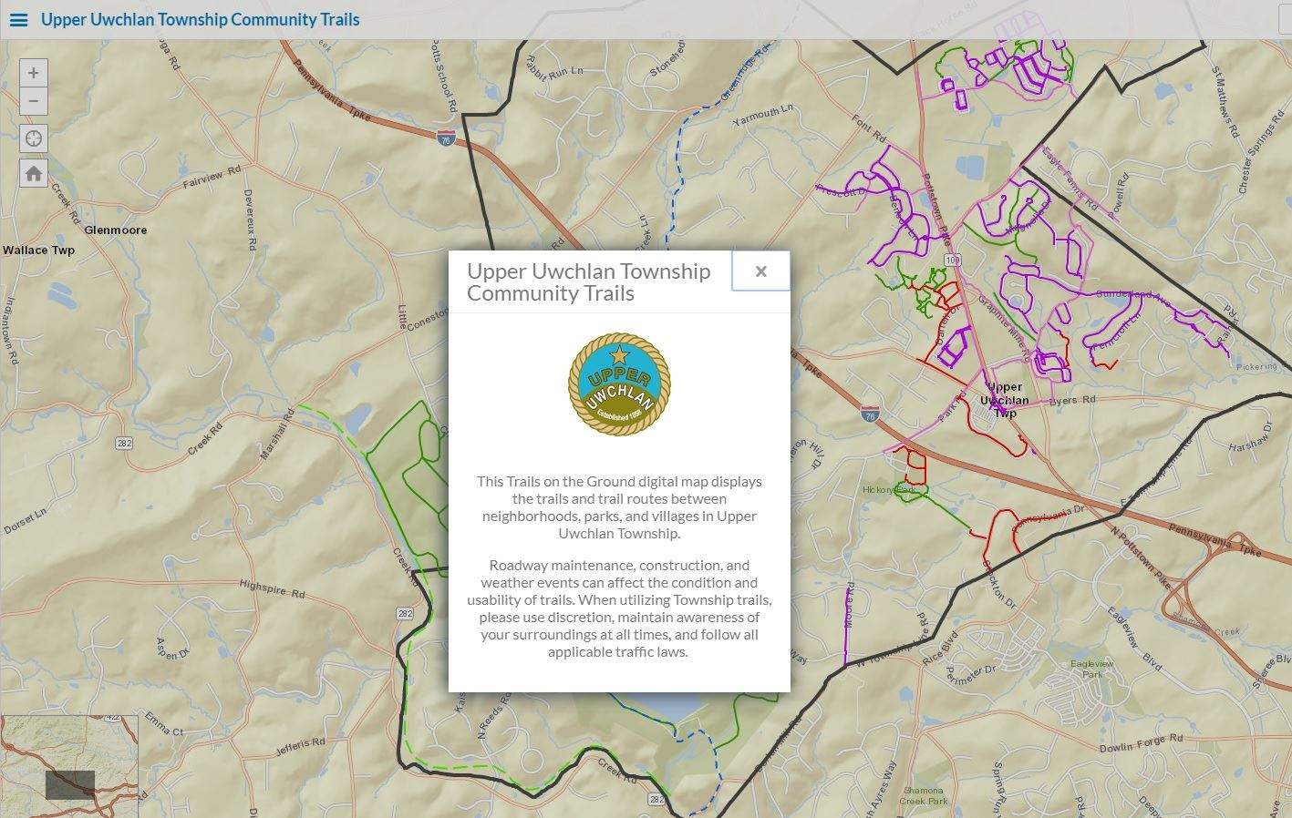 Click here to access a digital, interactive map of the Upper Uwchlan Community Trails Network