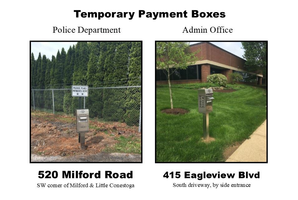 Temporary Payment Box Locations are at the Police Department, 520 Milford Road, SW Corner of Milford