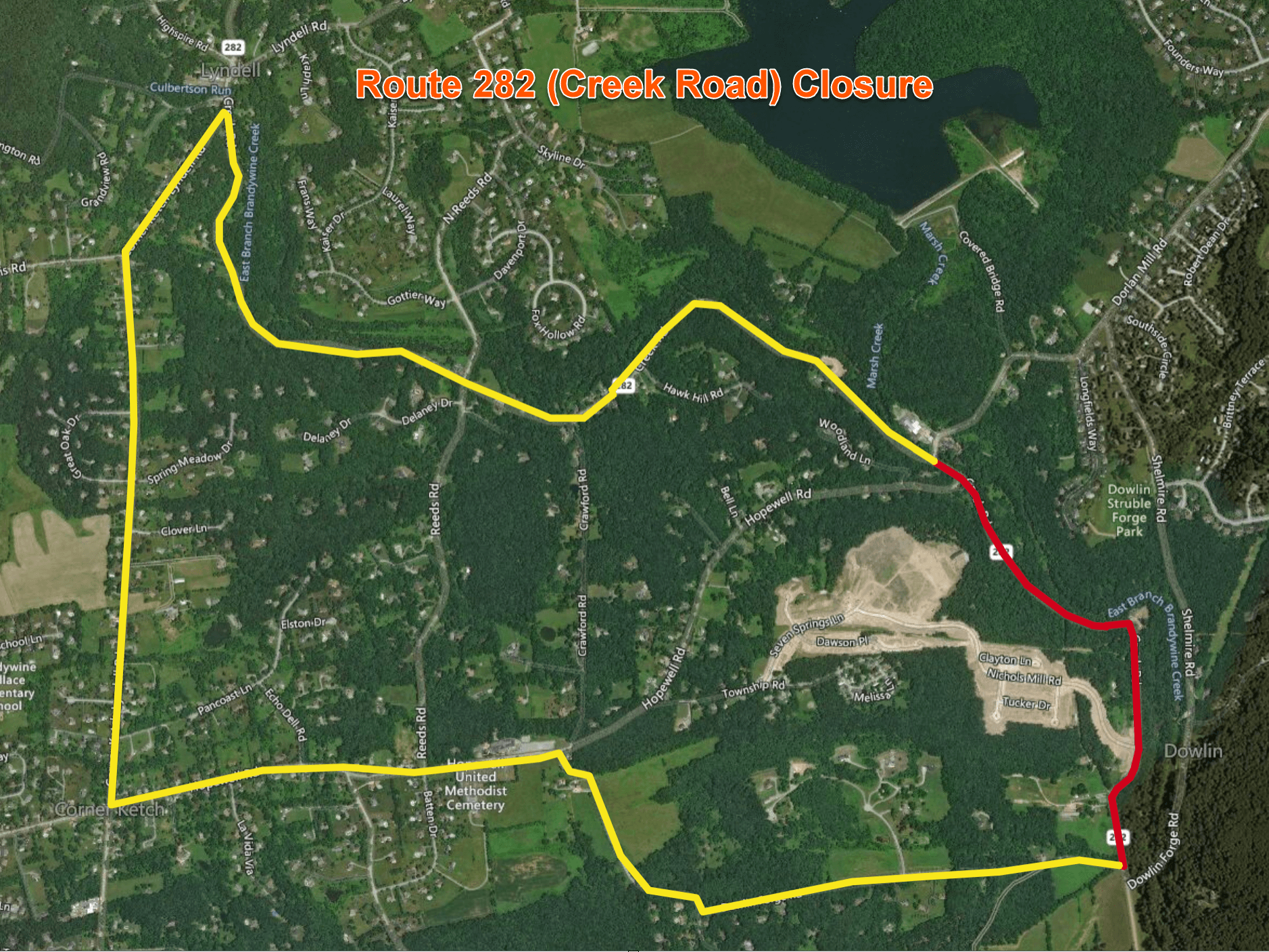 Route 282 Bridge Replacement Detour Map