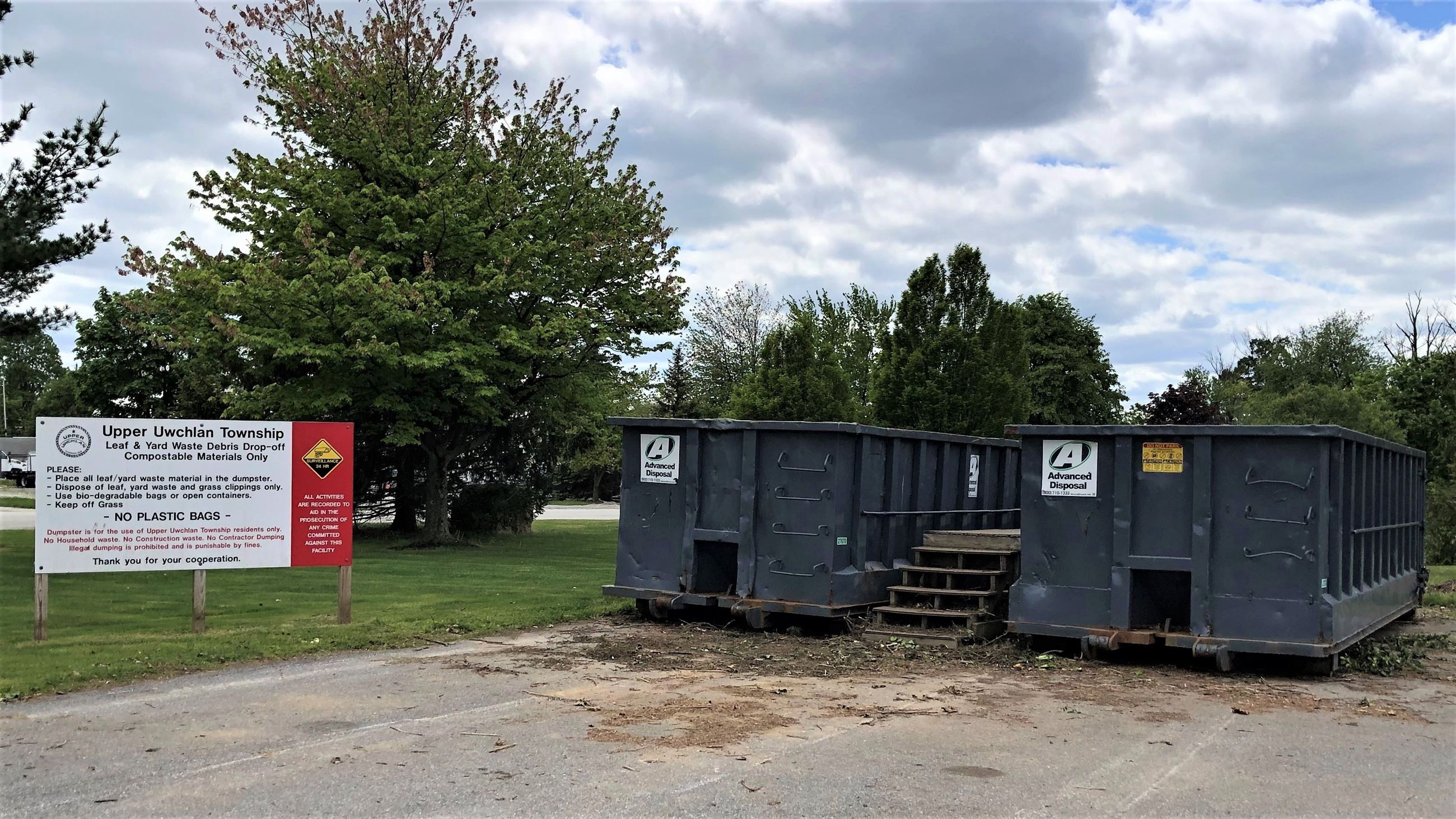 Photo of yard waste dumpsters at Public Works building